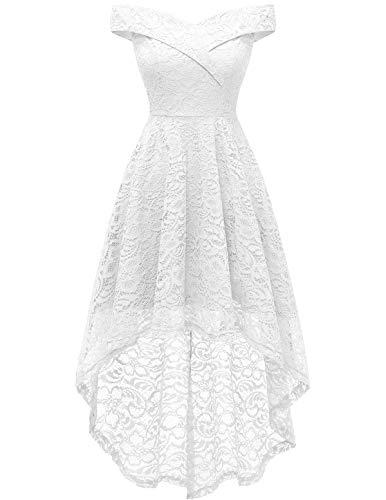 Homrain Vestido Cóctel Vintage A-línea Hi-Lo Elegante Encaje Fiesta Noche Vestido para Mujer White 2XL