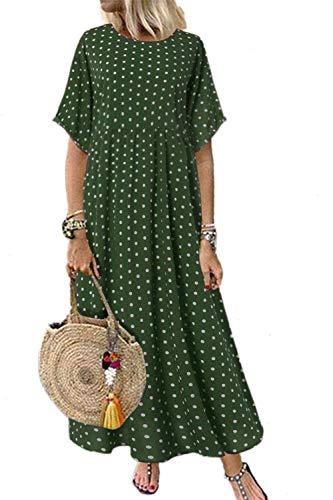 Mujeres Verano Casual Vestido Suelto Polka Dot Algodón Maxi Vestidos Talla Grande Verde 3XL