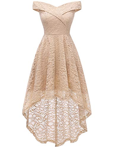 Homrain Vestido Cóctel Vintage A-línea Hi-Lo Elegante Encaje Fiesta Noche Vestido para Mujer Champagne L