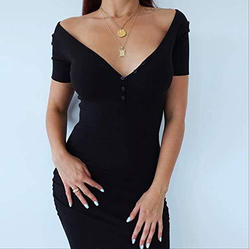 MNBV Vestido De Punto hasta El Tobillo Manga Corta Sexy Verano Casual Elástico Elegante Escote En V Mujer Vestidos Sólidos L Negro