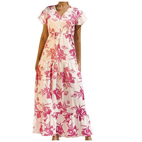Yue668 - Vestido de mujer con estampado de color liso para mujer, vestido largo de verano informal de manga corta y cuello en V