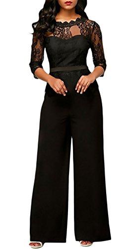 Monos De Vestir Mujer Largo Pantalon Elegante Verano Splice Encaje Mangas 3/4 Mono De Noche Moda Casual Transparentes Ropa Fiesta Modernas Pata Ancha Jumpsuit