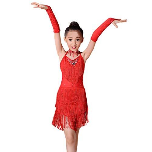 SHOBDW Niños pequeños niñas de Ballet Latino Vestido de Fiesta Dancewear salón de Baile Disfraces para 2-13T (Rojo, 6/7T)