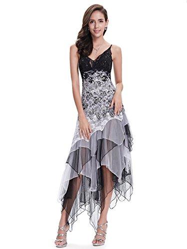 Ever-Pretty Vestido de Fiesta Noche Asimétrico en Encaje Volantes Escote Mujer Blanco y Negro 38