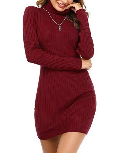 Irevial Vestido Punto Mujer Invierno, Vestido Suéter Mujer Manga Larga de Cuello Alto, Vestido Fiesta Mujer Elegante Casual Vino Rojo-S