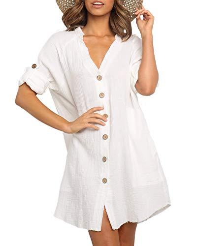 YOINS Mujer Vestido Camisero Vestido con Cuello En V Camisa Manga Larga con Botones Moda Vestido Casual Camisa Vestido Túnica Blanco XXL