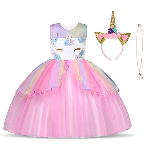 URAQT Disfraz de Unicornio, Vestido de Princesa Unicornio para Niñas, Vestido Elegante con Collar/Diadema para Cumpleaños/Cosplay/Boda, Edad 2-10 Años (Rosado, 4-5 años)