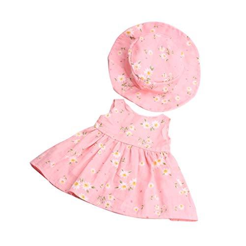 Uteruik Traje de Ropa Elegante para 18 '' (46cm) Muñecas Conjunto de Sombrero de Vestido Floral, 2 Piezas Rosa