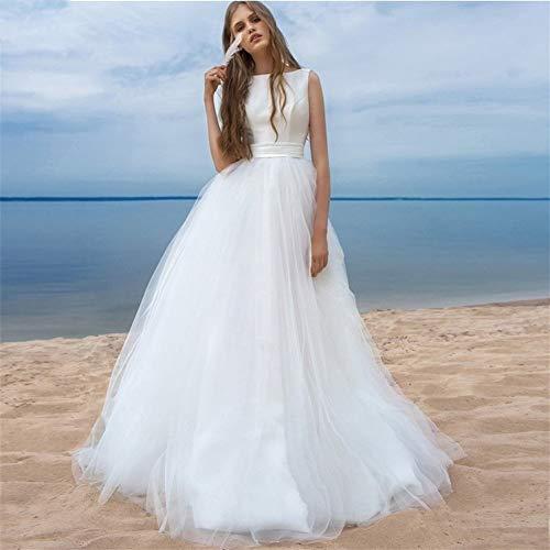 WANGMEILING Vestido de Novia Vestidos de Boda de Playa Simple Tul Blanco Vestido de Novia El Matrimonio de los Marcos por Encargo del tamaño Extra Grande (Color, US Size : 14)