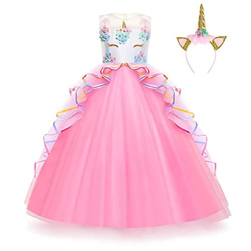 Foierp Disfraz Unicornio Niña, Vestidos Unicornio Niña, juego de rol / fiesta de Halloween, Boda, Partido,Vestido