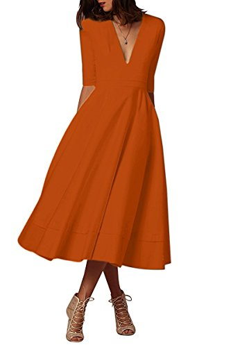 Minetom Mujer Vintage Vestidos Elegante Manga 1/2 Cuello en V Profundo Color Puro Vestir de Cóctel Fiesta Noche Midi Swing Dress Naranja ES 34