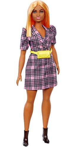 Barbie Fashionista Muñeca Morena con Vestido Blazer con Mangas abombadas y Accesorios de Moda (Mattel GRB53)