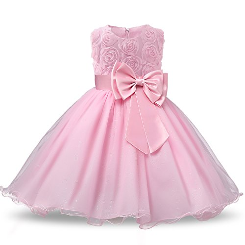 NNJXD Vestido de Fiesta de Princesa con Encaje de Flor de 3D sin Mangas para Niñas Talla(120) 3-4 Años Rosa