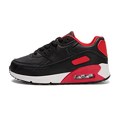 Zapatillas Niño Unisex Sneakers Niña Zapatos Deporte Running CalzadoNiños Casual Antideslizante Transpirables Negro Talla 25 EU