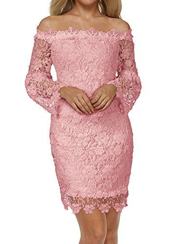 Auxo Mujer Vestido Corto Elegante Vestidos Encaje Florales Retro con Manga Larga Cuello Halter de Fiesta Cóctel Otoño Invierno 01-Lachs Rosa S