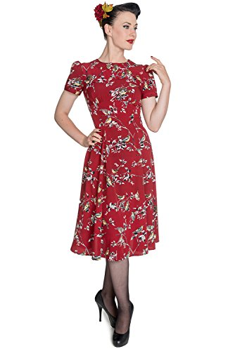 Vestido para mujer, estilo clásico de los años 40 y 50, de la marca Hell Bunny Rojo rosso XXL-46