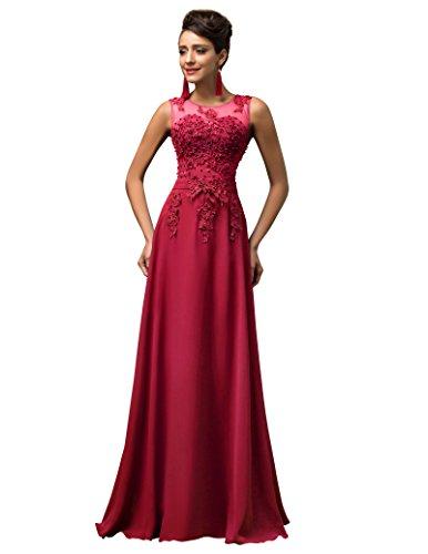 GRACE KARIN Vestidos Rojo Oscuro para Boda para Fiesta De Vuelo Encaje Floral Maxi Talla 32