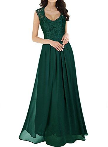 Miusol Vintage Chiffon Largo Fiesta Vestidos para Mujer Verde Small