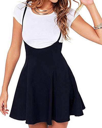 YOINS Falda Plisada de Mujer Falda Mini Acampanada Vestido de Faldas de Tirantes Casuales de Moda Elástica Versátil Negro L