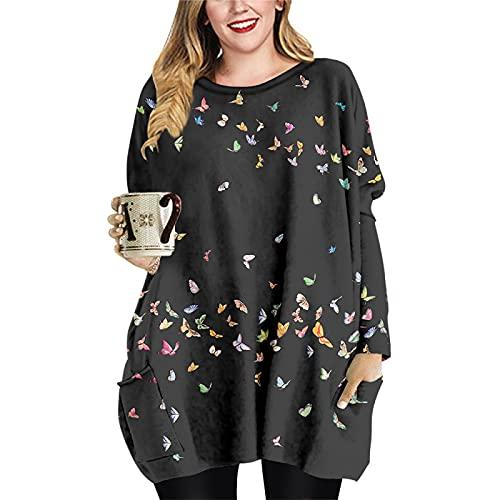 Suéter de Talla Grande para Mujer Mini Camisetas Cortas Vestido Blusas Vintage Camisetas de Manga Larga con Cuello Redondo Sudadera con Estampado 3D para Primavera Otoño Invierno Casual Diario 6XL
