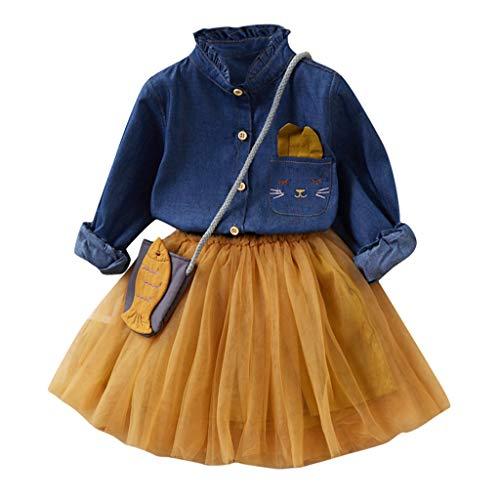 2-7 Años,SO-buts Pequeños Bebé Niña Otoño Invierno Falda De Tul + Botón De Manga Larga Camiseta Vaquera + Bolso Trajes De Princesa Conjunto Vestidos De Novia De Fiesta (Amarillo,5-6 años)