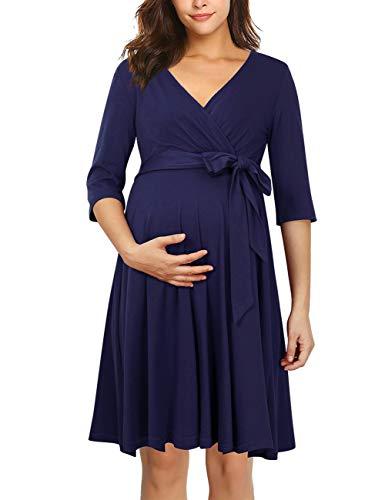 KOJOOIN Vestido de Maternidad Delgado con Cuello en V