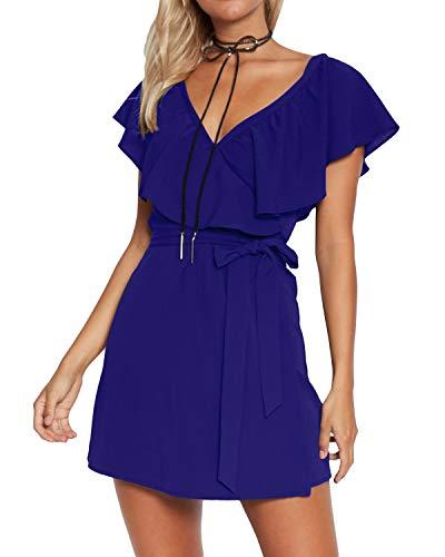 Yoins - Vestido de verano para mujer, corto, cuello en V, sin hombros, elegante, vestido de playa, minivestido de fiesta 13 S