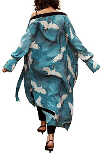 YouKD Cárdigan de Manga Larga de algodón de Verano para Mujer Vestido Largo de Boho Vestido Largo de Playa Kimono Largo Talla única