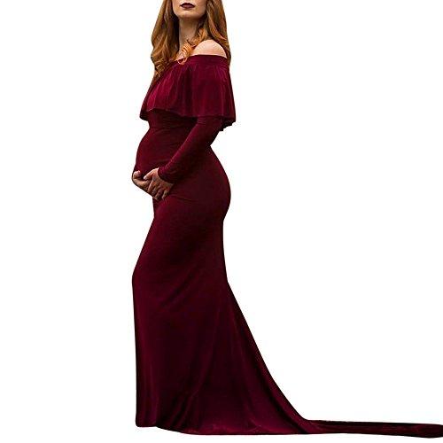 STRIR Vestido de Maternidad Mujer Fiesta Largos Boda Mujer Embarazada Encaje Floral Foto Shoot Vestidos Faldas Fotográficas de Maternidad Apoyos de Fotografía Playa (XL, Tinto de Vino)