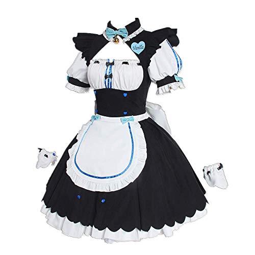 CHANGL Novedad Cosplay para Disfraces de Fiesta NEKOPARA Vainilla/Delantal de mucama Extra Lolita Trajes de Vestido gótico con Accesorios para Disfraces
