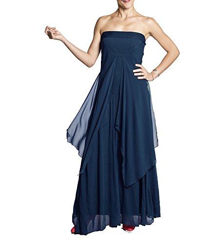 Anoushka Volador Largo Maxi Vestido Fiesta, Azul (Azul Marino), 38 (Tamaño del Fabricante:M/L) para Mujer