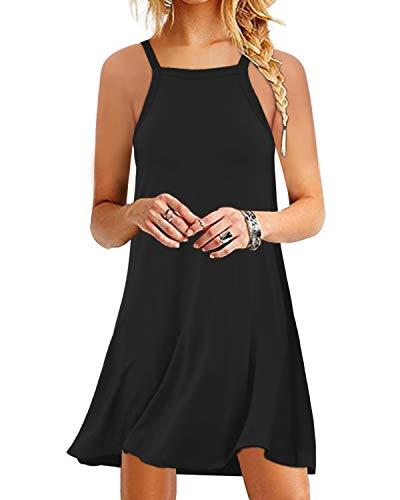 Yoins - Vestido de verano para mujer, hasta la rodilla, túnica, para invierno, cuello de pico, elegante vestido de novia Sin mangas, color negro. L