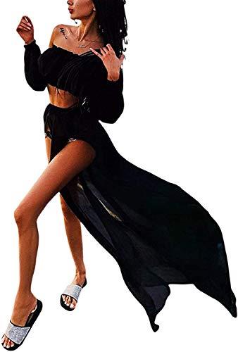 Loalirando 2 piezas cubretrajes de mujer de manga larga sin tirantes vestido de playa sexy elegante bikini Cover Up encaje (negro, talla única)