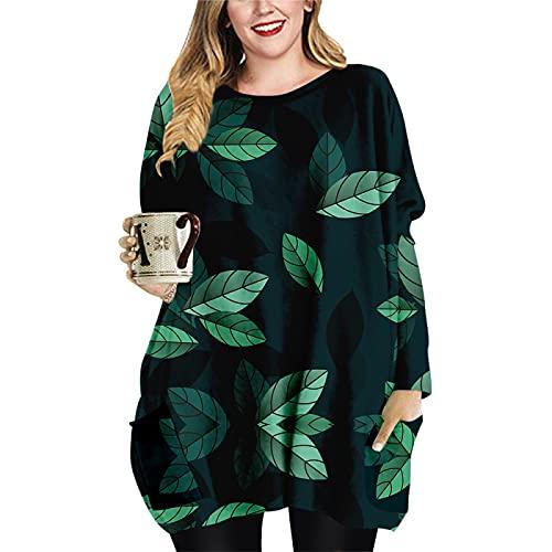 Vestido Suelto hasta la Rodilla para Mujer Primavera Otoño Invierno Manga Larga Cuello Redondo Sudadera con Capucha Estampado 3D Camiseta Informal Tops para el hogar 5XL
