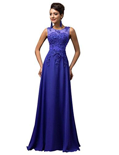 GRACE KARIN Vestidos Azules Vestido de Fiesta Larga Elegante Encaje Floral Tallas Grandes 48