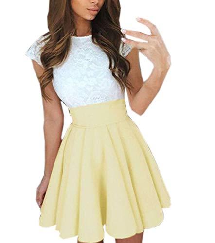 Ajpguot Verano Mujer Cuello Redondo Manga Corta Corto Vestido de Encaje Alinear Vestido de Drapeado Elegante Mini Vestidos de Fiesta Cóctel (M, Amarillo)