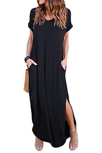 Vestidos Mujer Casual Bohemios Playa Largos Verano Vestido Boho Hendidura Falda Larga Maxi Vestido Playeros Black2 L