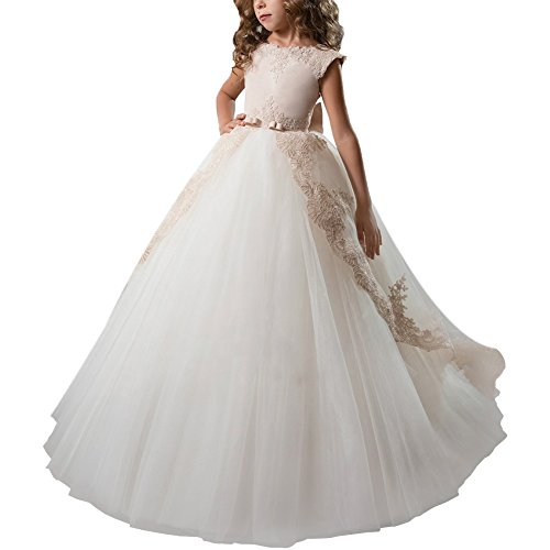 IBTOM CASTLE Vestido de niña de Flores para la Boda Niñas Niños Largo Gala Encaje De Ceremonia Fiesta Elegantes Comunión Paseo Baile Pageant #9 Beige + Blanco 10-11 años