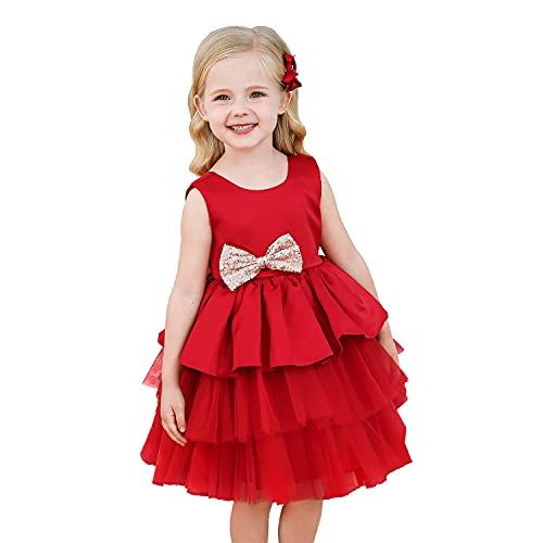 NNJXD Bebé Niñas Princesa Vestido Bowknot Lentejuelas Vestidos Pompa Boda Vestido de tutú Talla120 (4-5 años) 730 Rojo-A