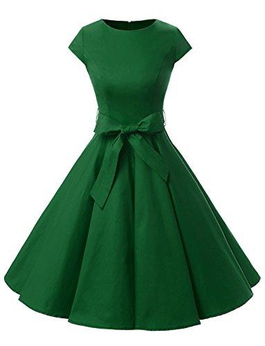 Dressystar Vestidos Coctel Corto Vintage 50s 60s Manga Corta Rockabilly Elegante Mujer Army Green S