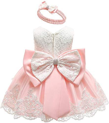 Bebé Niña Vestido de Encaje sin Manga Vestido Formal de Novia de Boda Traje de Vestido de Tutú de Color Sólido con Diadema para Recién Nacido de Bautizo Ceremonia (Rosa, 0-3 Meses)