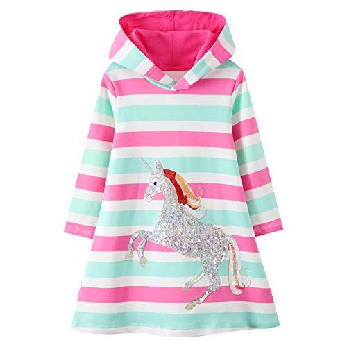 JinBei Niñas Vestidos Falda con Capucha Otoño Manga Larga Algodón Caballo Rayas Rosas Arco Iris Unicornio Baratos Casuales Vestidos Ropa Infantil 6-7 años