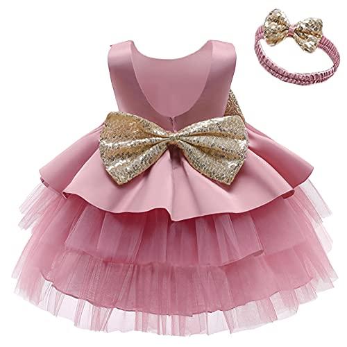 OBEEII Vestido de tul para niña sin mangas, con lazo, flores, princesa, dama de honor, boda, cumpleaños, fiesta, desfile, vestido de baile, 12 meses a 12 años #Bohnenpink01 5-6 Años