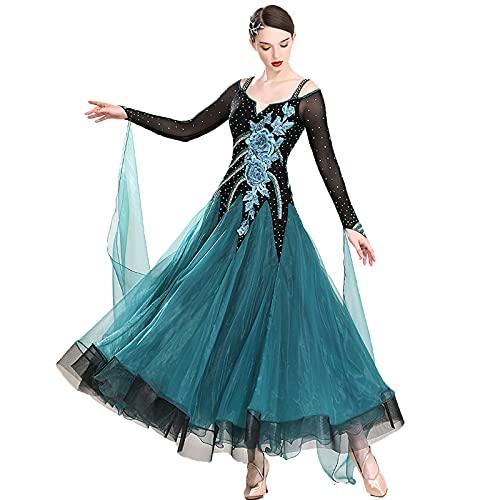 Vestidos de Baile de Impresos para Mujeres Manga Larga Lace Tango Dance Wear Professional Standard Dancing Concurso Vestido Waltz Moderno Moderno Performance Traje,Verde,3XL