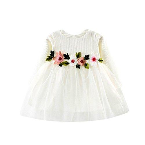 K-youth® Vestidos Bebé Niña Floral Tutú Princesa Vestidos de Manga Larga Otoño Invierno Ropa (Blanco, 0-6 Meses)