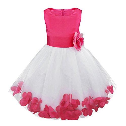 IEFIEL Vestido Elegante de Fiesta Boda para Niña Vestido Flores de Dama de Honor Vestido Blanco de Bautizo Vestido Princesa de Ceremonia Rosa Oscuro 14 años