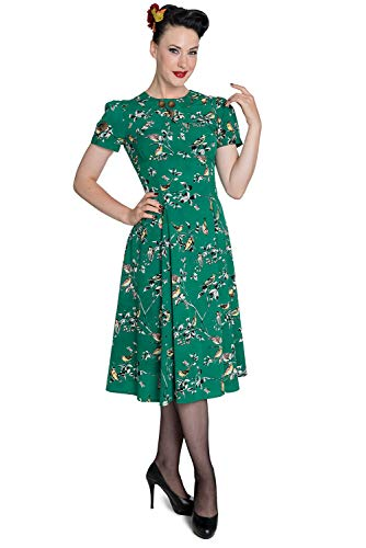 Hell Bunny Vestido Birdy Aves en Estilo Vintage Campesina de los 40's (M, Verde)