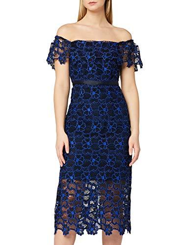 Marca Amazon - TRUTH & FABLE Vestido de Encaje con Escote Bardot Mujer, Multicolor (Multicolour Multicolour), 34, Label: XXS
