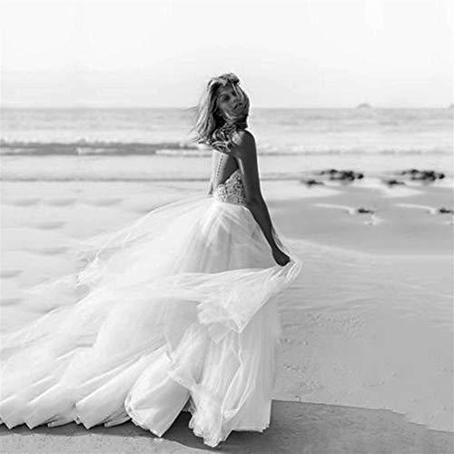 QIUXIANG Vestido de Novia Mujer Vestidos de Novia Atractiva Boho Vestido de Novia de la Playa de la Correa de Encaje sin Espalda Vestido de Boda for Las Mujeres (Color : Pink, US Size : 6)