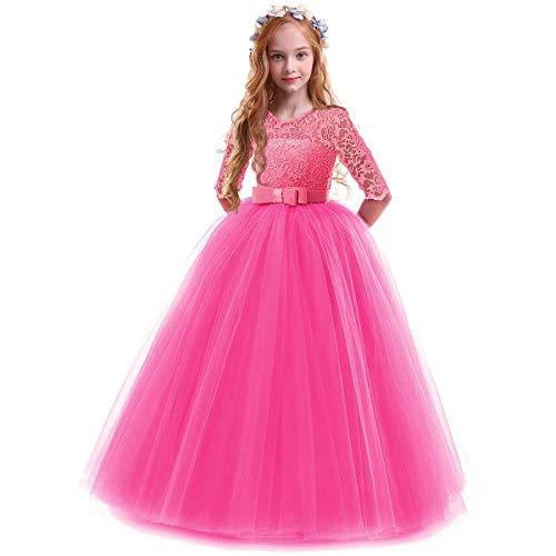 OBEEII Vestidos De Princesa Fiesta de la Boda de Las Niñas para Bordado Graduación Comunión Cumpleaños Paseo Baile Cóctel Vestido de Novia Rose 3-4 Años